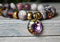 purple gemstone beaded bracelets