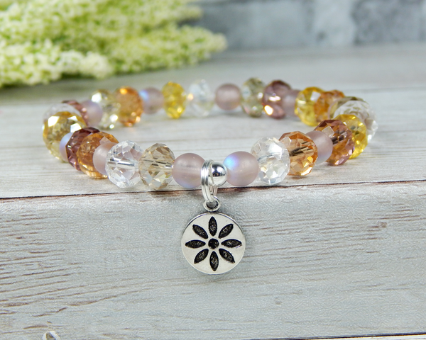 flower bracelet crystal beaded jewelry for women