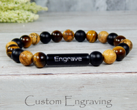 mens engraved jewelry gemstone bracelet