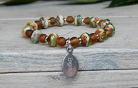 brown green beaded bracelet