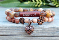 boho engraved bracelet nature jewelry