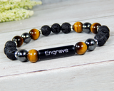 mens lava diffuser bracelet engraved jewelry