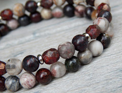 Deep Red and Gray Stone Stacked Beaded Boho Bracelet Set