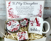daughter gift basket with personalized mug