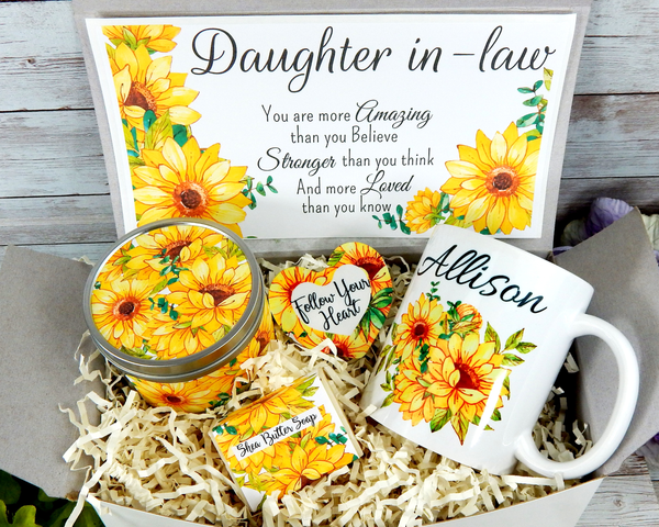 daughter in law gift with sunflower mug