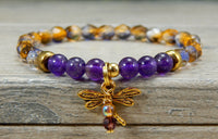 beaded dragonfly bracelet amethyst