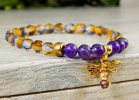 dragonfly bracelet amethyst jewelry beaded