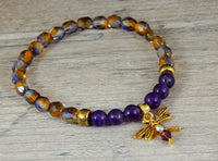 beaded nature bracelet dragonfly charm