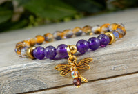 dragonfly bracelet with amethyst gemstones