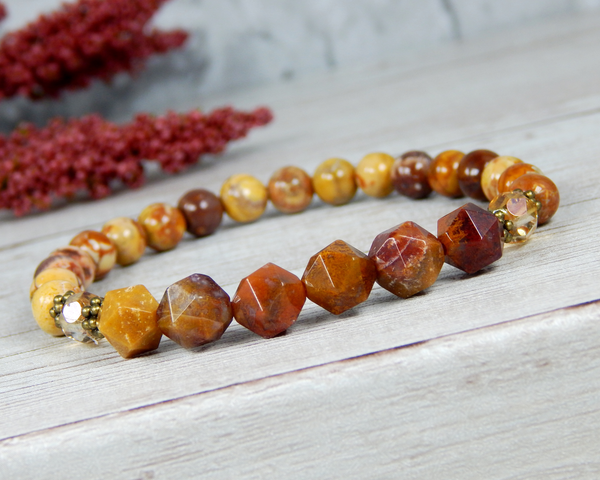 Agate Jewelry for Women - Orange Red Earthy Bracelet - Nature Jewelry