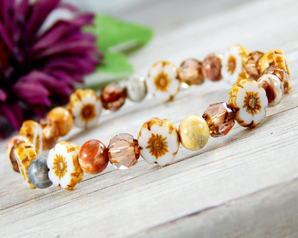 flower jewelry for women beaded nature bracelet