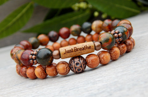 beaded earthy bracelet with word bead