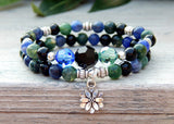 earthy flower bracelet with gemstones