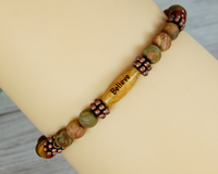Believe Message Bracelet - Red Creek Jasper Beaded Bracelet for Women