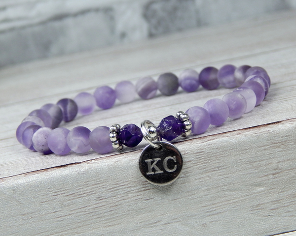 engraved amethyst bracelet february birthday gift