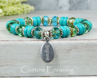 turquoise blue bracelet engraved jewelry