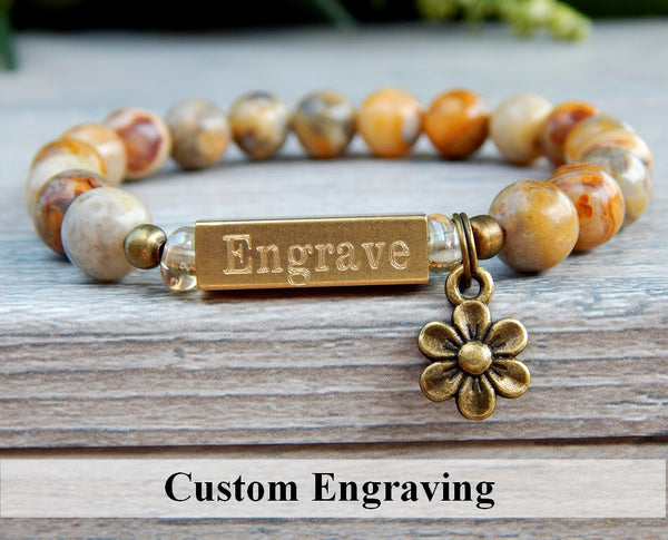 engraved bracelets nature jewelry flower charm
