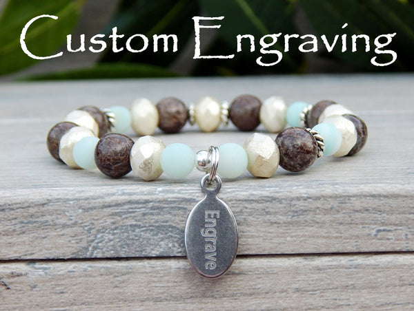 engraved bracelet amazonite beaded jewelry