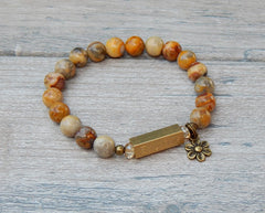 gemstone bracelet nature jewelry flower charm