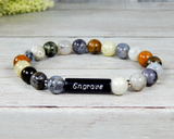 Engraved Bracelet - Agate Beaded Bracelet - Personalized Gift for Women