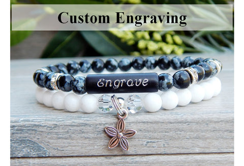 custom engraved jewelry beaded gemstone bracelet