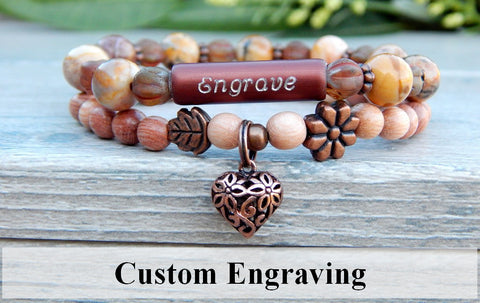 nature jewelry engraved bracelet wood bracelet
