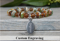 brown beaded engraved bracelet
