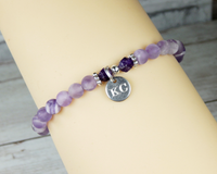 personalized amethyst bracelet with engraved initials