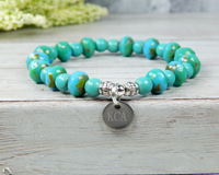engraved turquoise charm bracelet initial jewelry