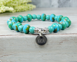 engraved initial bracelet turquoise beaded jewelry