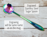 engraved sugar spoon for coffee tea