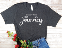 black enjoy the journey t-shirt for women