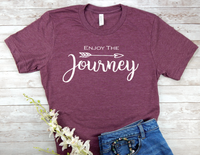 maroon enjoy the journey t-shirt for women