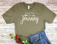 army green enjoy the journey t-shirt for women
