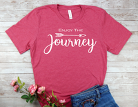 pink enjoy the journey t-shirt for women