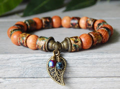 beaded fall bracelet nature jewelry
