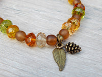 leaf charm bracelet autumn jewelry