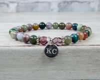 personalized fancy jasper beaded bracelet for mom