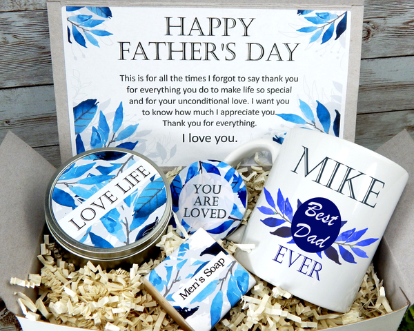 fathers day gift  basket with personalized mug for dad