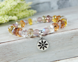 pastel crystal beaded bracelet with flower charm