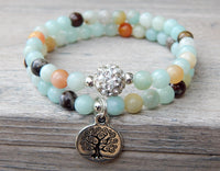 blue beaded flower amazonite bracelets