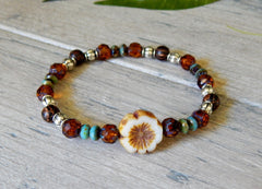 nature jewelry beaded brown and blue