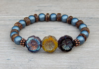 nature bracelet with flower beads
