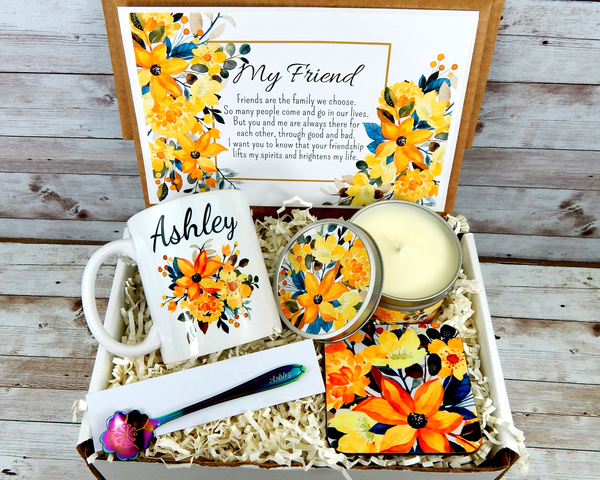 Yellow Flower Gift Basket For Best Friend with Personalized Coffee Mug For Birthday, Graduation or Just Because