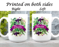 personalized garden mug with name and herb garden flowers