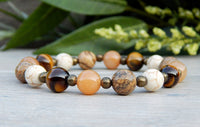 Natural Multi-Beaded Bracelet - Tiger Eye, Aventurine, Howlite, Jasper