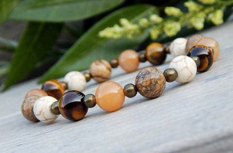 Natural Multi-Gemstone Beaded Bracelet - Tiger Eye, Aventurine, Howlite, Jasper