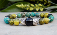 beaded gemstone bracelet with yellow turquoise