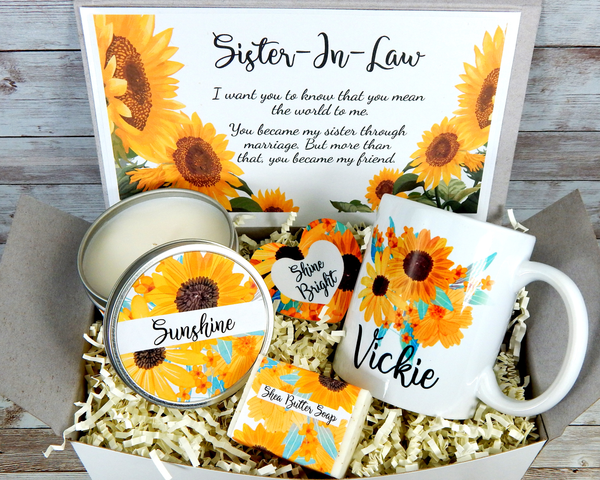Sunflower Gift Basket for Sister In Law for her Birthday