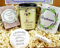 lavender themed spa gift basket